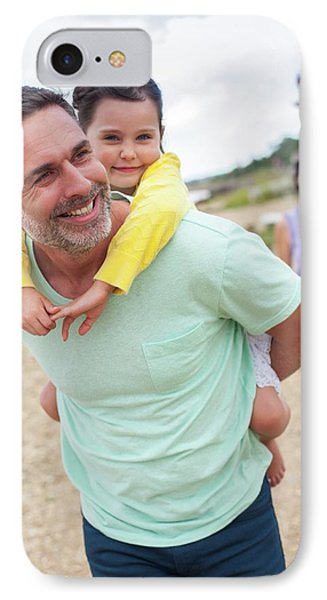 Father Giving Daughter Piggyback IPhone Case by Ian Hooton