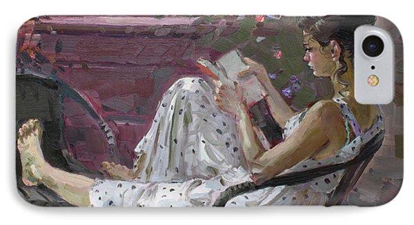 Girl Reading IPhone Case by Ylli Haruni