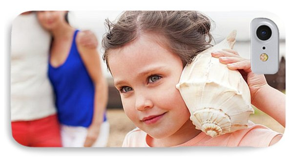 Girl With Seashell IPhone Case by Ian Hooton
