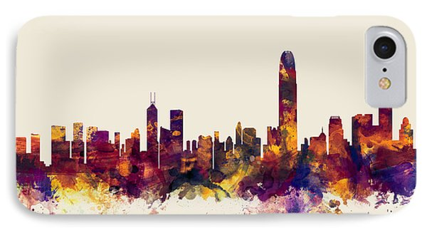 Hong Kong Skyline IPhone Case by Michael Tompsett