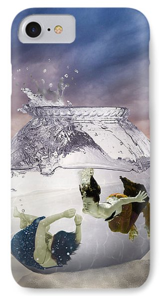 2 Lost Souls Living In A Fishbowl Phone Case by Linda Lees