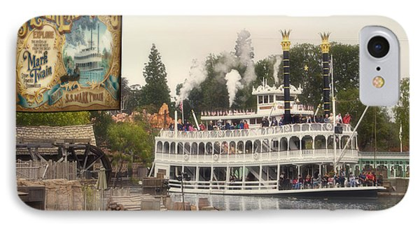Mark Twain Riverboat Signage Frontierland Disneyland IPhone Case by Thomas Woolworth