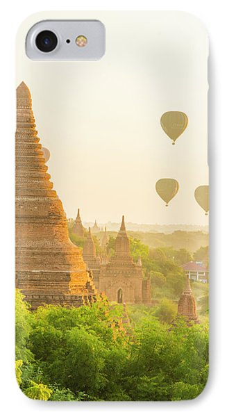 Myanmar Bagan Hot Air Balloons Rising IPhone Case by Inger Hogstrom