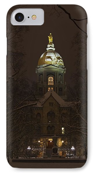 Notre Dame Golden Dome Snow IPhone 7 Case by John Stephens