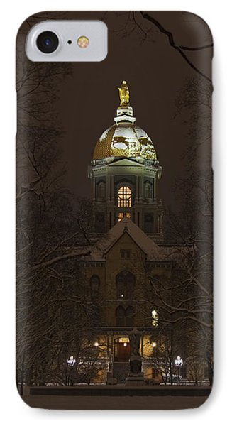 Notre Dame Golden Dome Snow IPhone Case by John Stephens