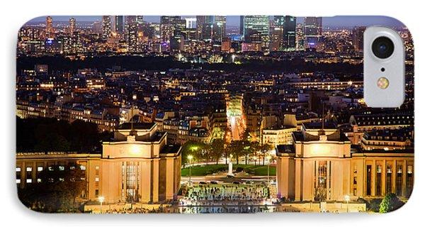 Paris Panorama France At Night Phone Case by Michal Bednarek