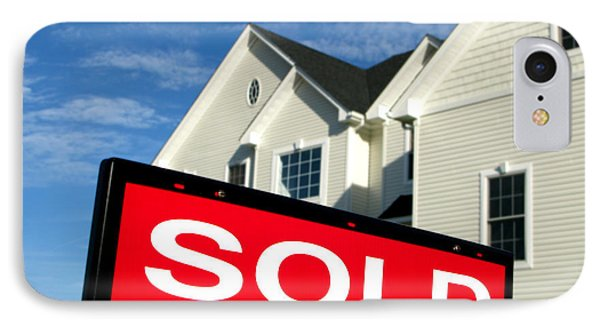 Real Estate Realtor Sold Sign And House For Sale Phone Case by Olivier Le Queinec