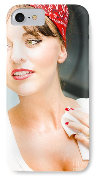 Sexy Cleaning Lady IPhone Case by Jorgo Photography - Wall Art Gallery