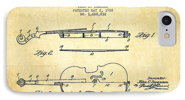 Violin Patent Drawing From 1928 IPhone Case by Aged Pixel