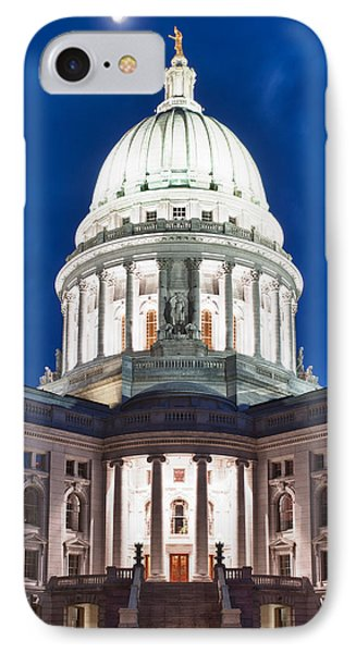 Wisconsin State Capitol Building At Night IPhone Case by Sebastian Musial