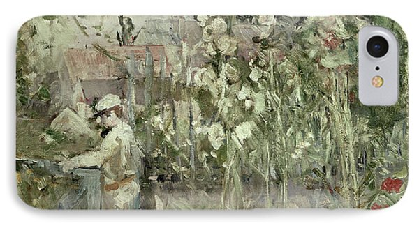 Young Boy In The Hollyhocks IPhone Case by Berthe Morisot