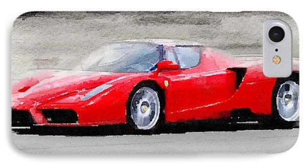 2002 Ferrari Enzo Watercolor IPhone Case by Naxart Studio