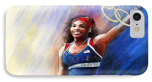 2012 Tennis Olympics Gold Medal Serena Williams IPhone Case by Miki De Goodaboom