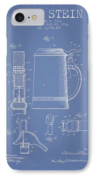 Beer Stein Patent From 1914 - Light Blue IPhone Case by Aged Pixel