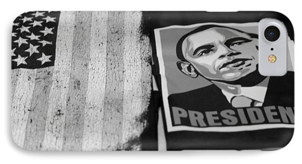 Commercialization Of The President Of The United States Of America In Black And White IPhone Case by Rob Hans