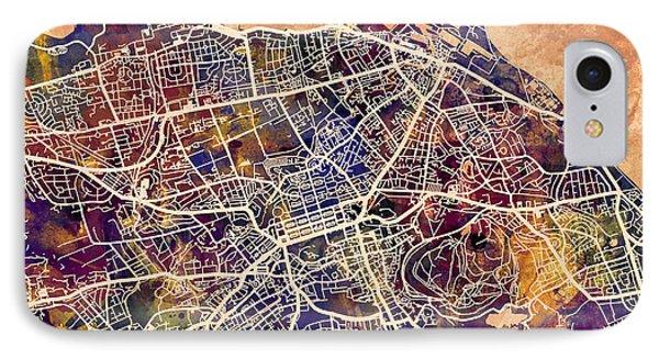 Edinburgh Street Map IPhone Case by Michael Tompsett