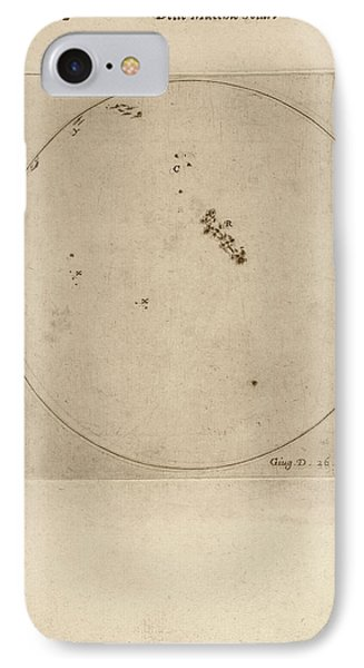 Galileo's Observation Of Sunspots IPhone Case by Library Of Congress