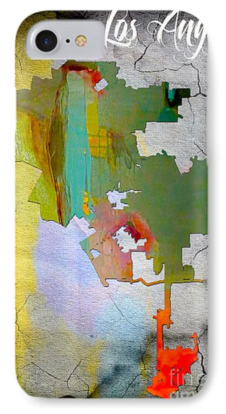 Los Angeles Map Watercolor IPhone Case by Marvin Blaine