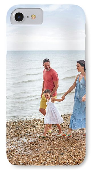 Parents On Beach With Daughter IPhone Case by Ian Hooton