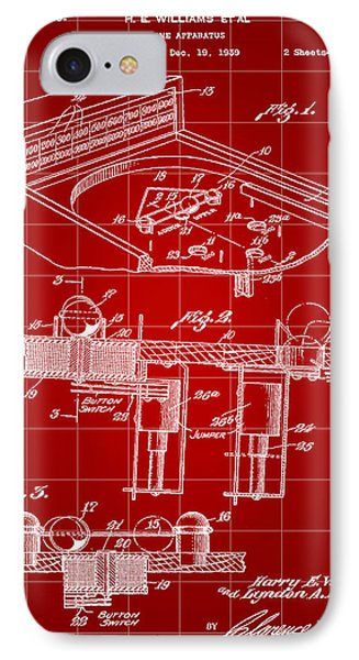 Pinball Machine Patent 1939 - Red IPhone 7 Case by Stephen Younts