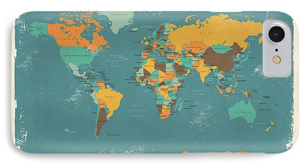 Retro Political Map Of The World IPhone 7 Case by Michael Tompsett