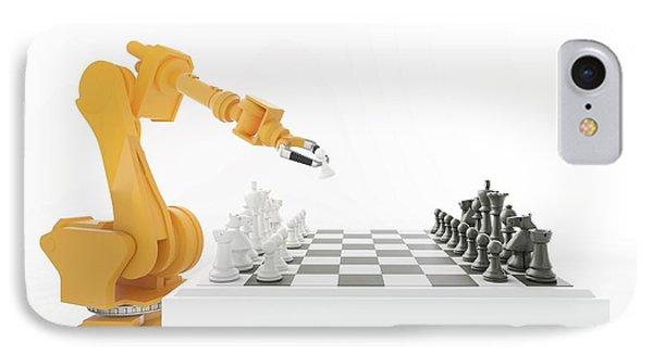 Robotic Arm Playing Chess IPhone Case by Andrzej Wojcicki