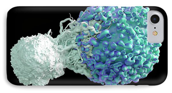 T Cell Attacking Cancer Cell IPhone Case by Maurizio De Angelis