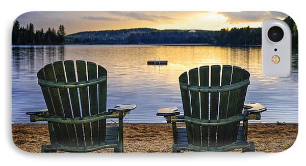 Wooden Chairs At Sunset On Beach Phone Case by Elena Elisseeva