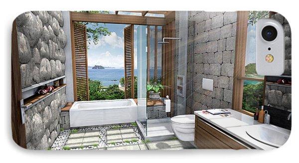 3d Tropical Bathroom Phone Case by Thanes