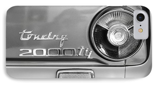 1972 Bmw 2000 Tii Touring Taillight Emblem -0182bw IPhone Case by Jill Reger
