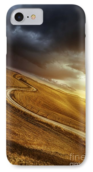 A Country Road In Field At Sunset Phone Case by Evgeny Kuklev