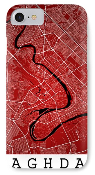 Baghdad Street Map - Baghdad Iraq Road Map Art On Color IPhone Case by Jurq Studio