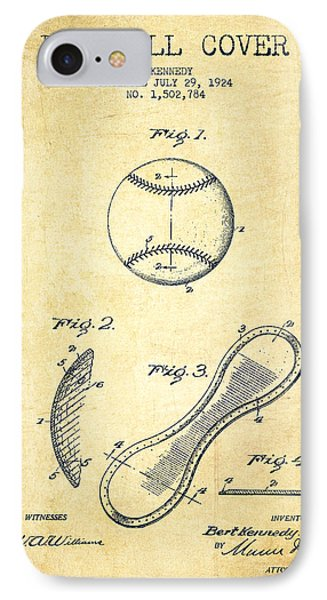 Baseball Cover Patent Drawing From 1924 IPhone 7 Case by Aged Pixel
