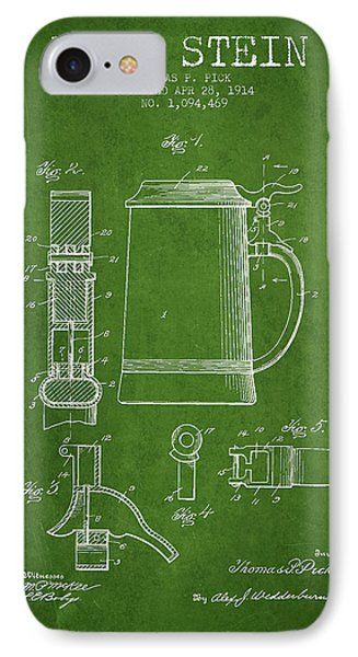 Beer Stein Patent From 1914 - Green IPhone Case by Aged Pixel