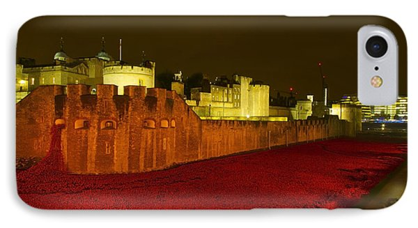 Poppies Tower Of London Night IPhone Case by David French