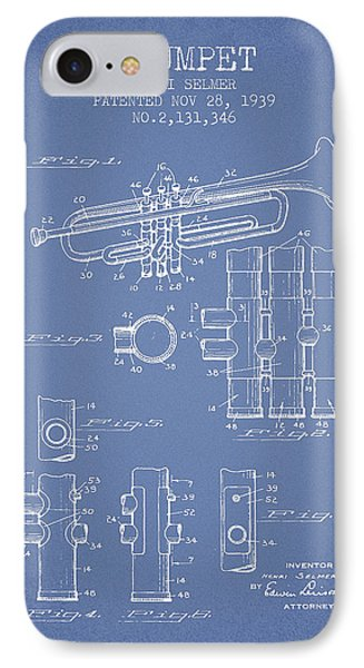 Trumpet Patent From 1939 - Light Blue IPhone Case by Aged Pixel