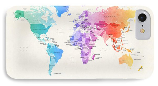 Watercolour Political Map Of The World IPhone Case by Michael Tompsett