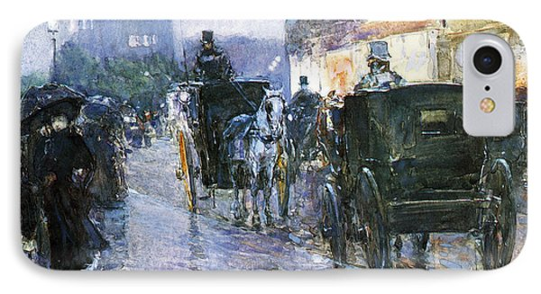 Horse Drawn Cabs At Evening IPhone Case by Childe Hassam