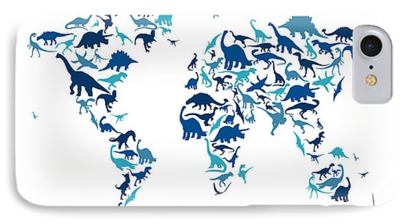 Dinosaur Map Of The World Map IPhone Case by Michael Tompsett