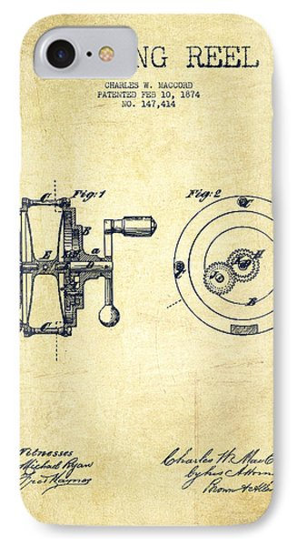 Fishing Reel Patent From 1874 IPhone Case by Aged Pixel
