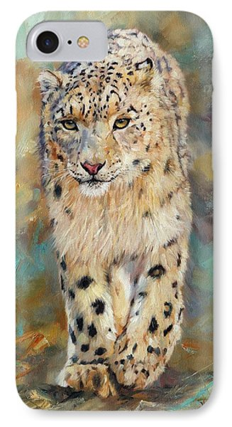 Snow Leopard IPhone 7 Case by David Stribbling
