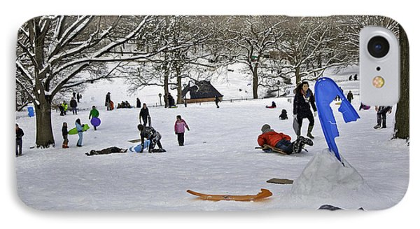 Snowboarding  In Central Park  2011 Phone Case by Madeline Ellis