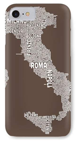 Text Map Of Italy Map IPhone Case by Michael Tompsett