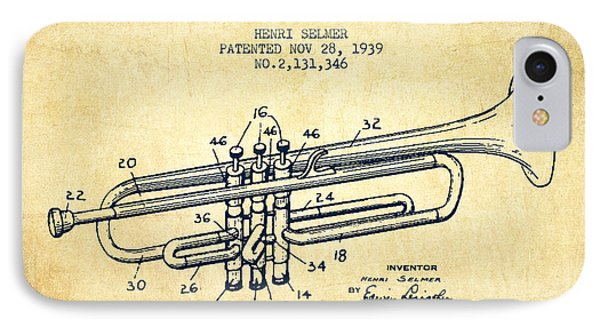 Vinatge Trumpet Patent From 1939 IPhone Case by Aged Pixel