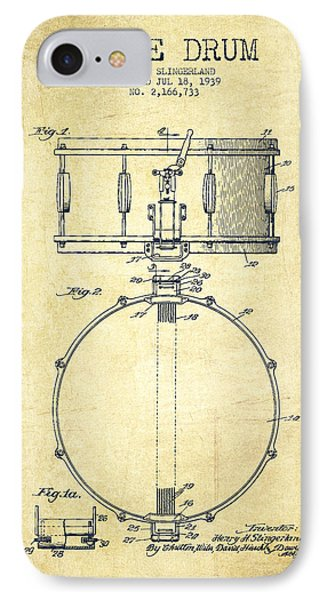Snare Drum Patent Drawing From 1939 - Vintage IPhone 7 Case by Aged Pixel