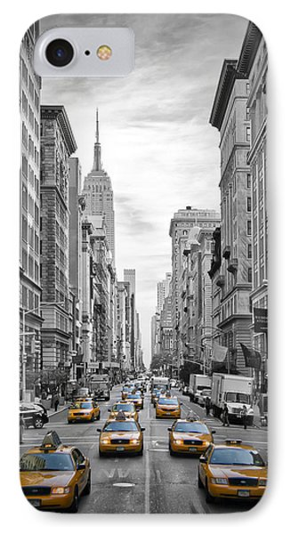5th Avenue Yellow Cabs IPhone Case by Melanie Viola