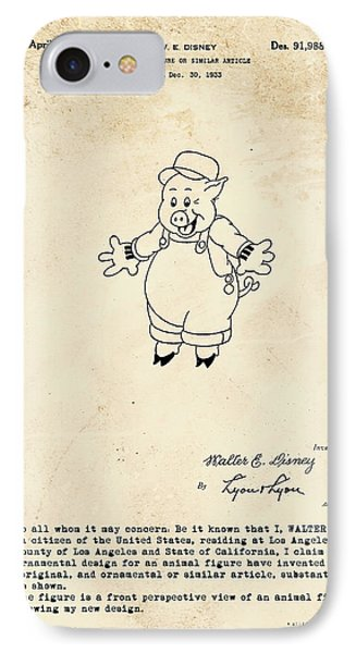 Disney Pig Patent IPhone Case by Marlene Watson