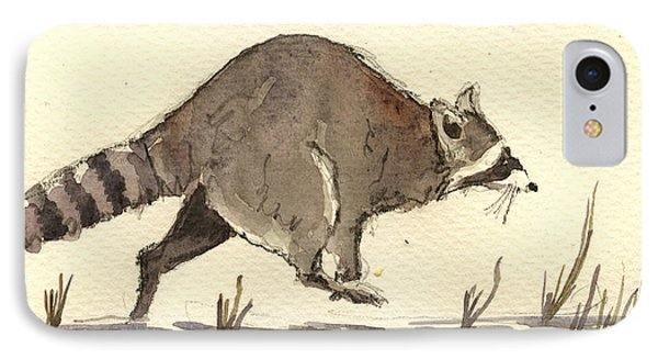 Raccoon  IPhone Case by Juan  Bosco
