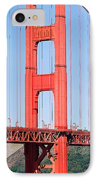 Suspension Bridge Across A Bay, Golden IPhone Case by Panoramic Images