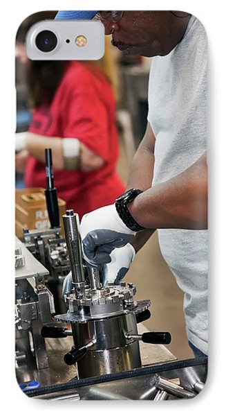 Car Transmission Assembly Line IPhone Case by Jim West